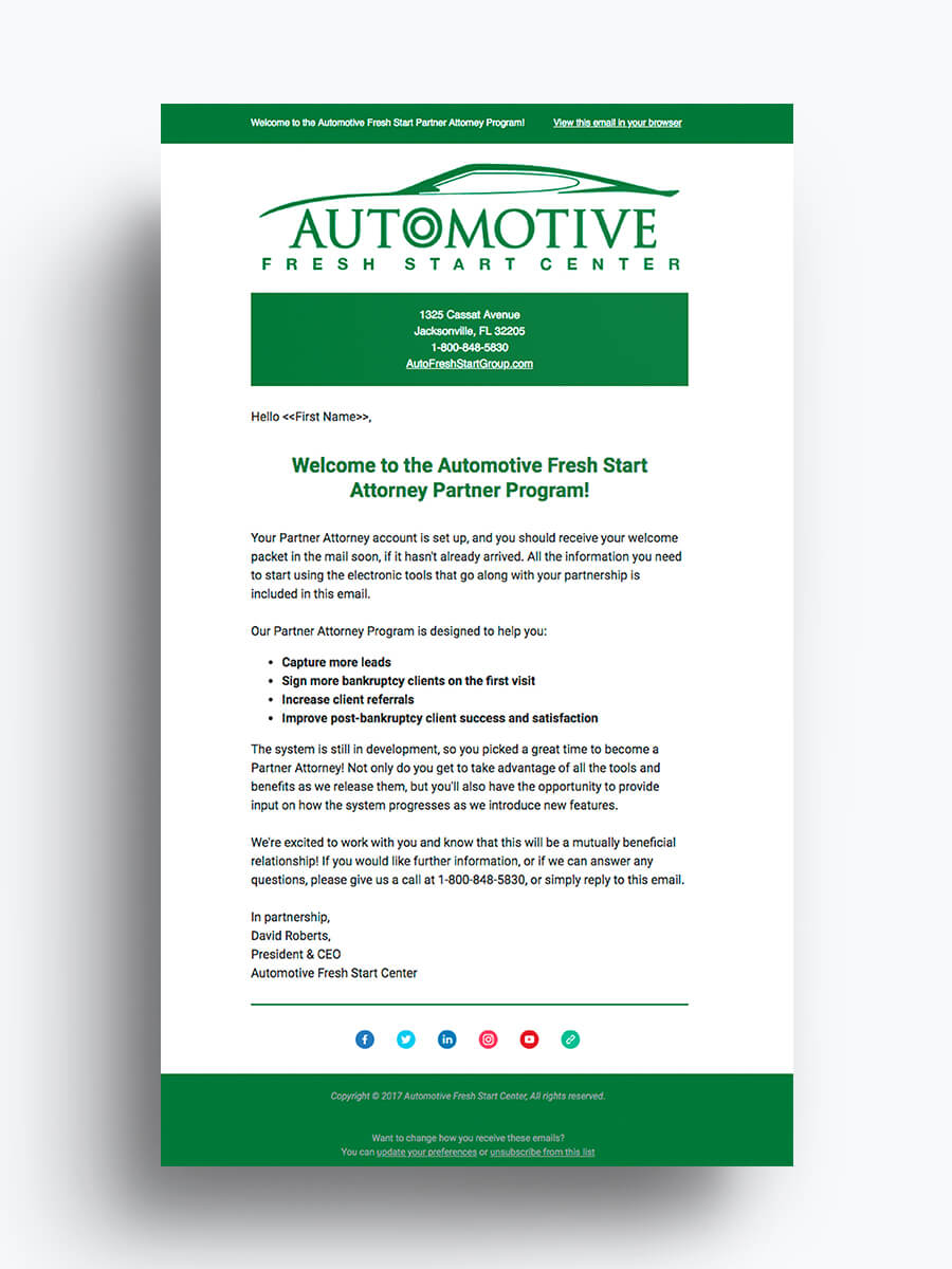 Automotive Fresh Start Center — Email Marketing