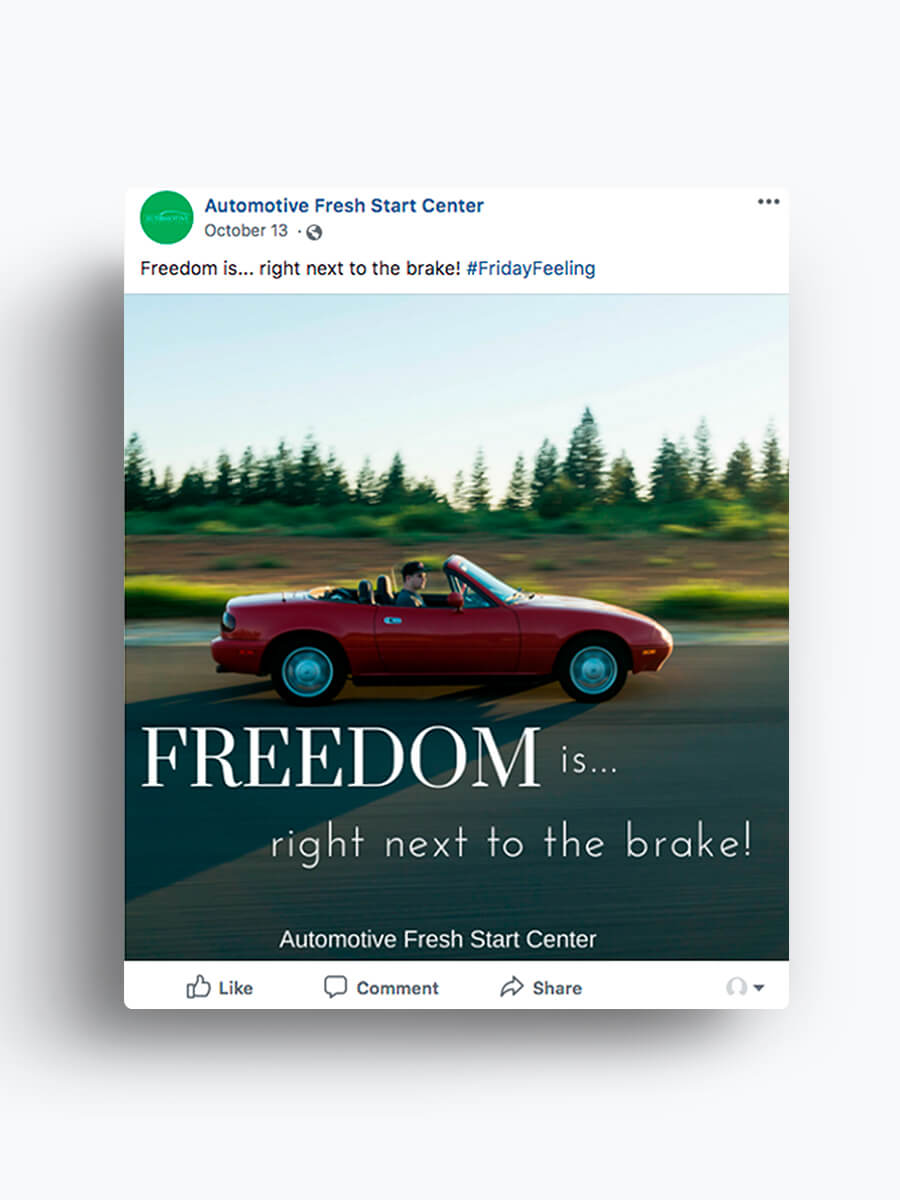 Automotive Fresh Start Center — Facebook Marketing