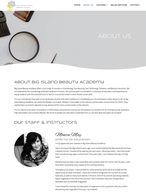 Big Island Beauty Academy — Website Design