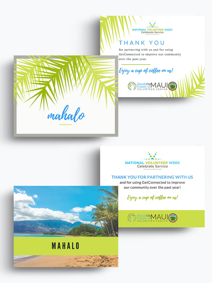 County of Maui Volunteer Center — Postcards