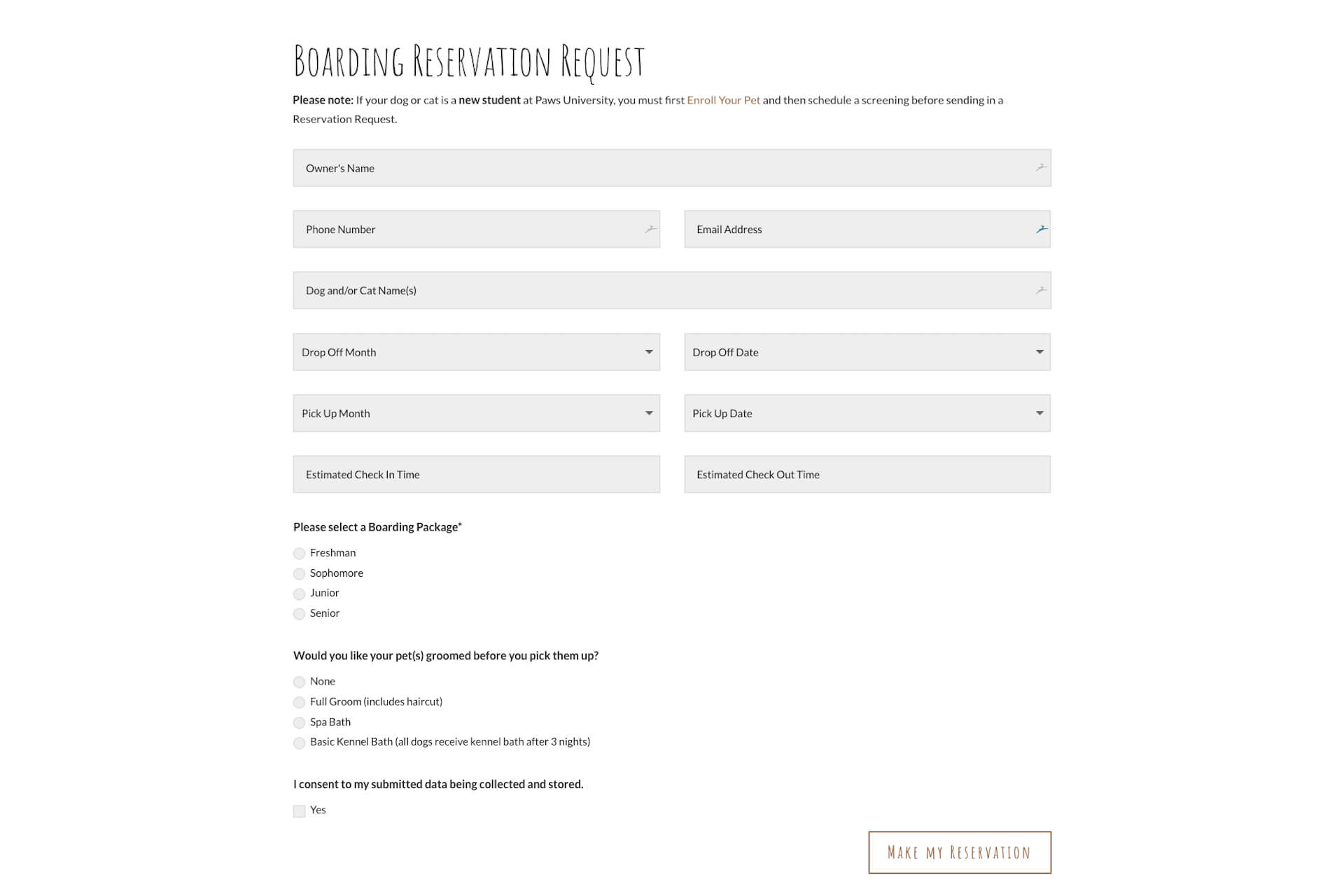 Paws University — Custom Online Reservation Form