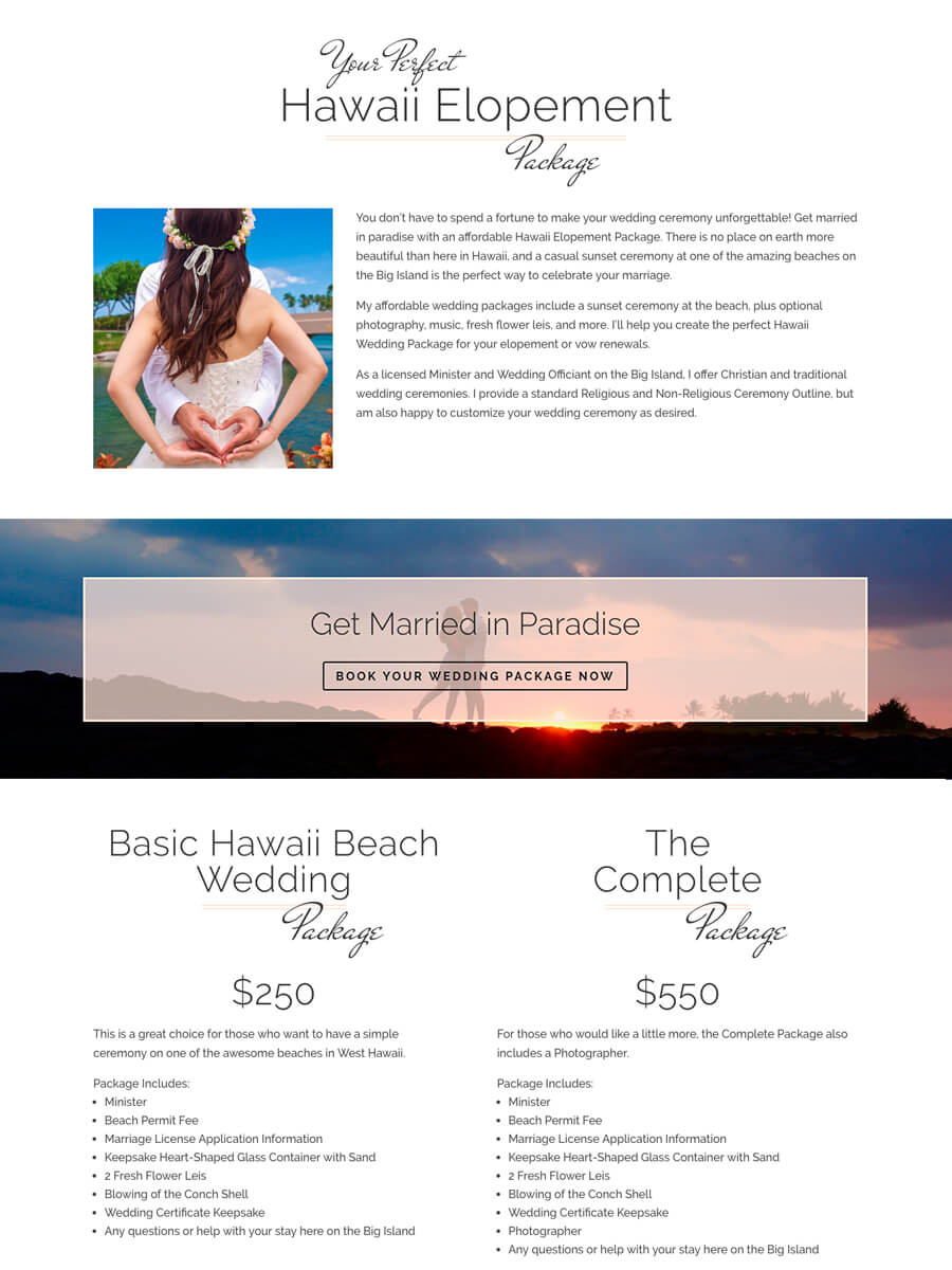 Weddings on Big Island by Kevin — Website Landing Page