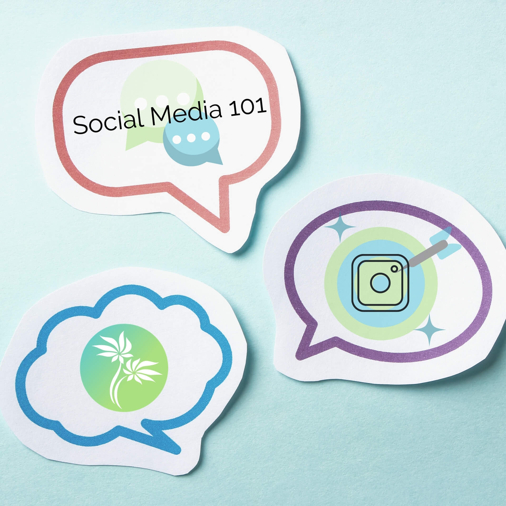 social media target market: speech bubbles with social media icons in them.