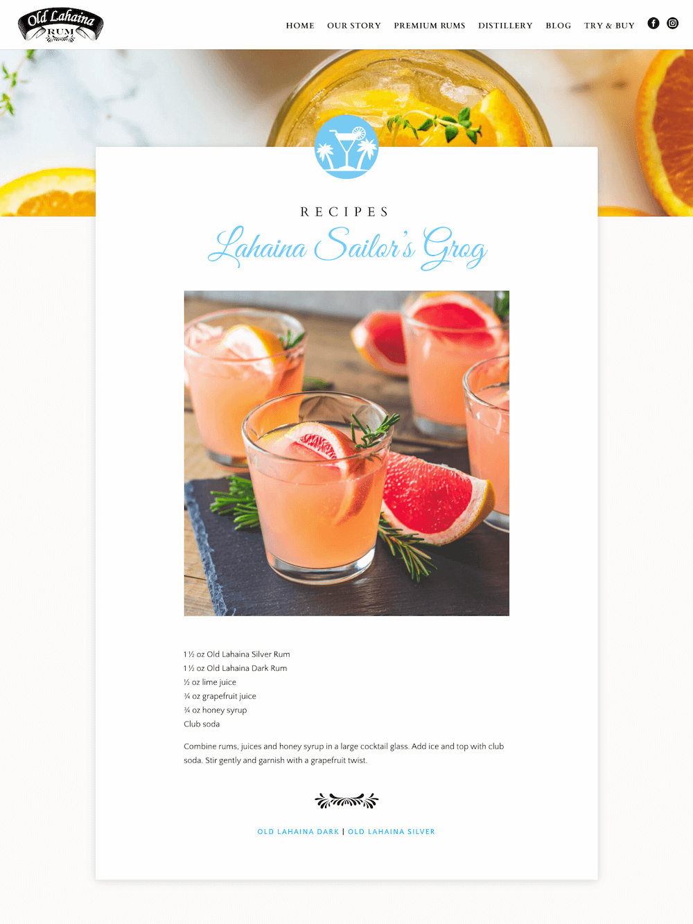 Old Lahaina Rum — Custom Blog Post Layout