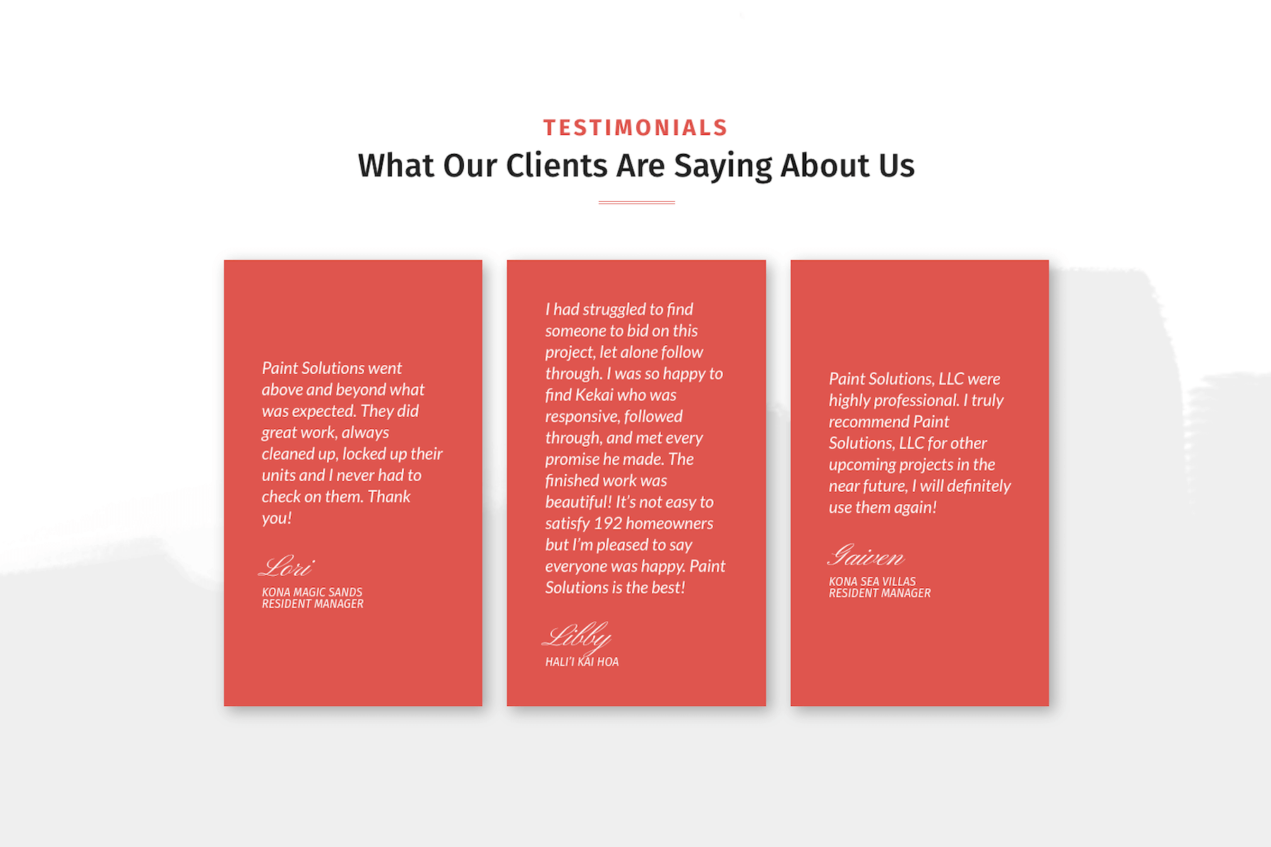 Paint Solutions — Website Testimonials