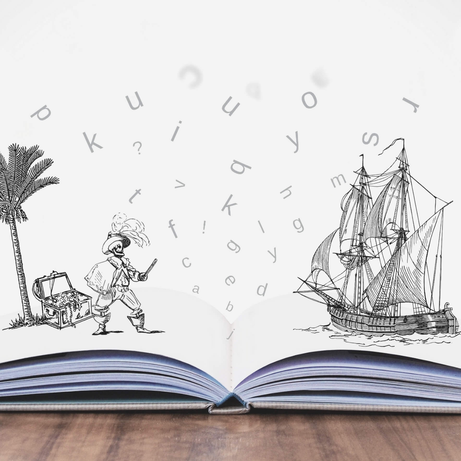 storytelling for nonprofits: A book lying open with a tree, treasure chest, and an undead pirate on one page, with a pirate ship on the other.