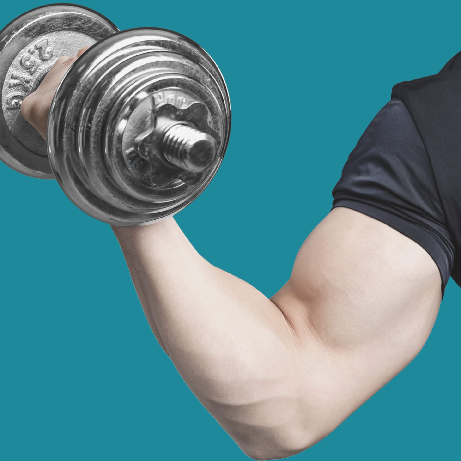 branding strategy benefits: arm with large muscles holding up a large dumbbell