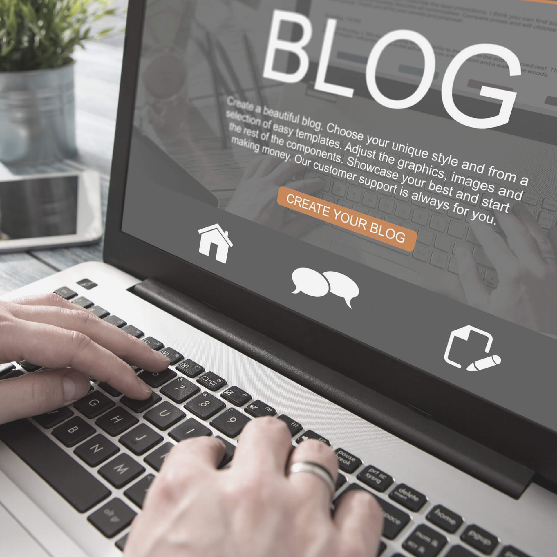 why your nonprofit needs a blog: hands on a laptop. laptop is displaying a website for creating a new blog