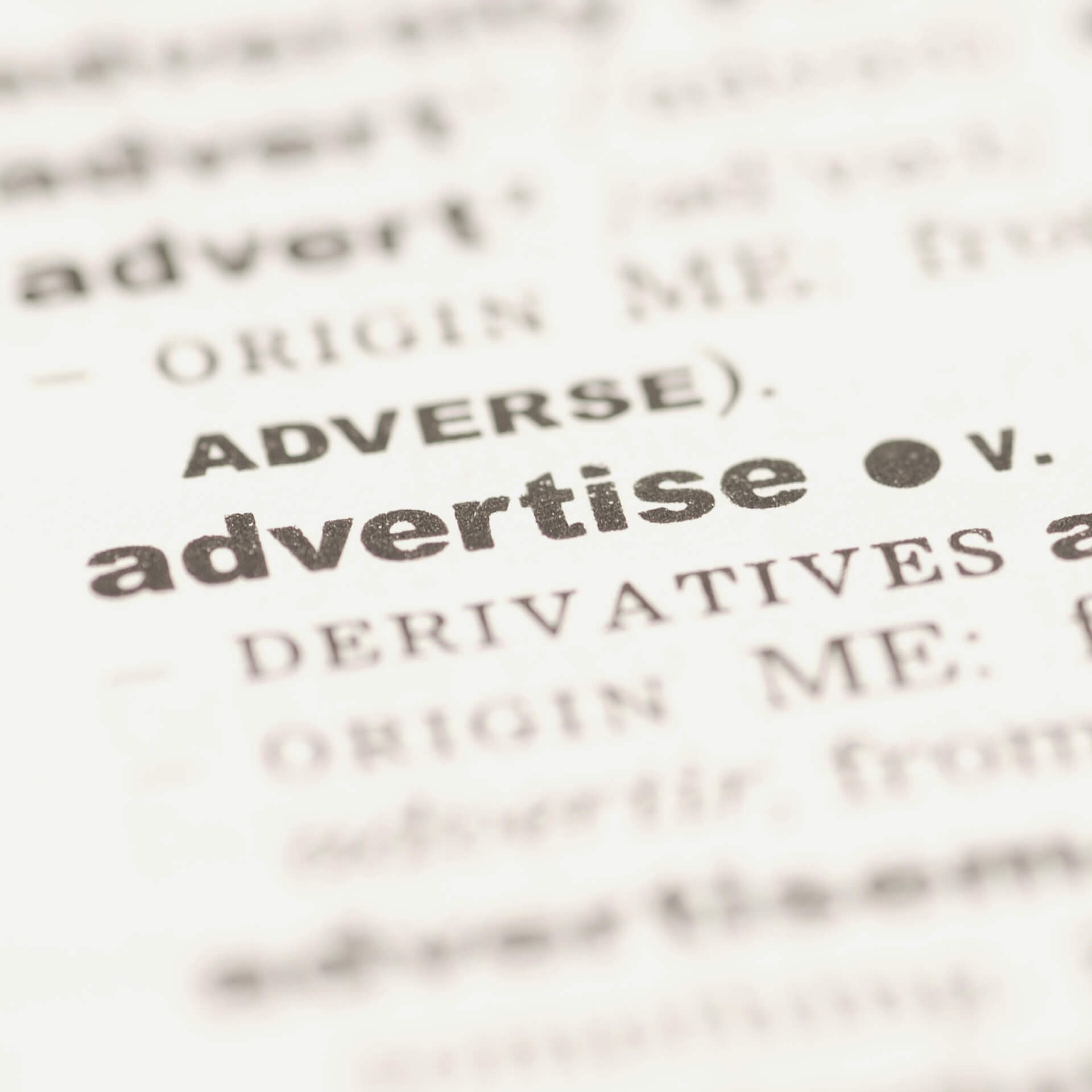 Advertising Strategies: dictionary focusing on the word: advertise