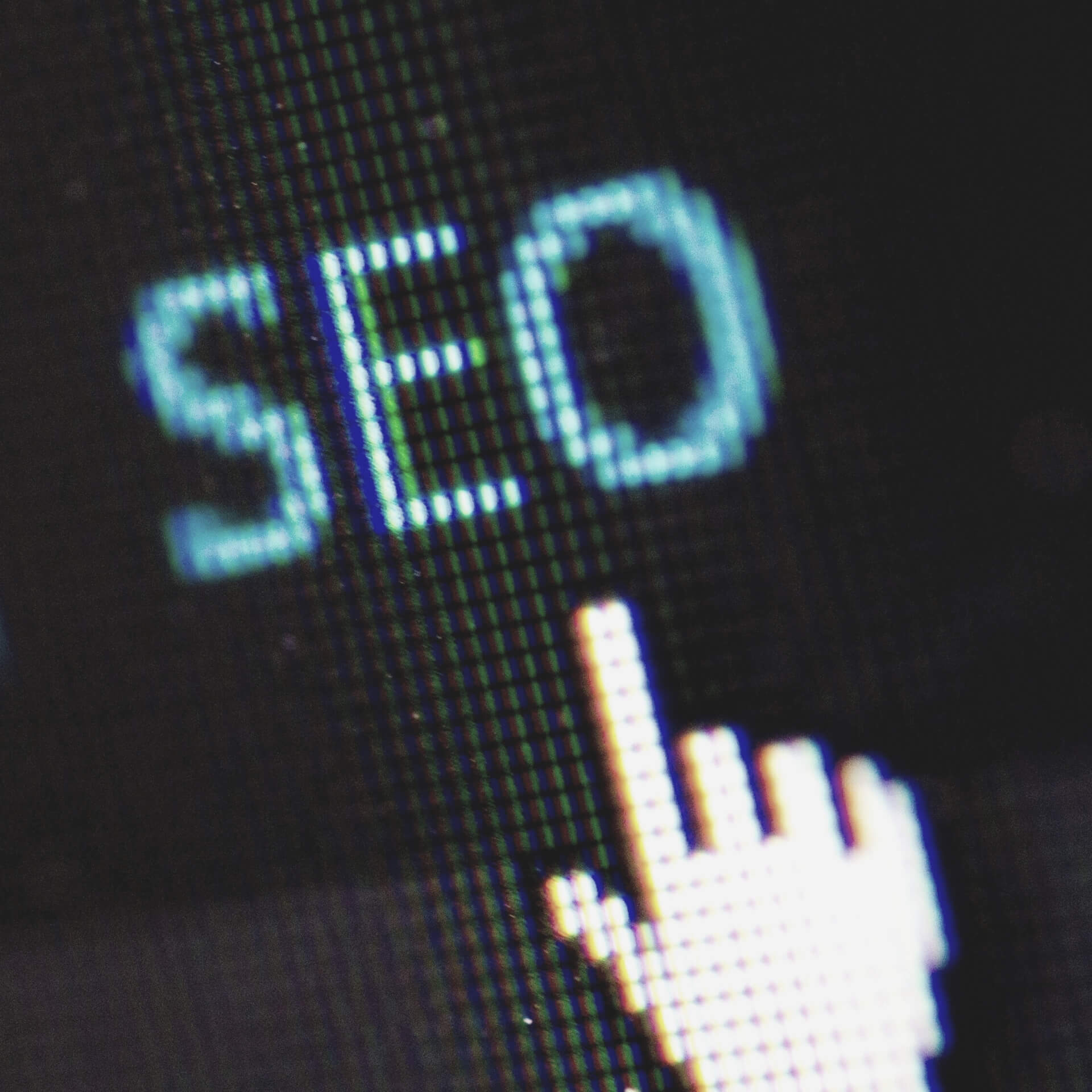 "What does SEO stand for? Close up of a mouse moving to click on the text ""SEO"""