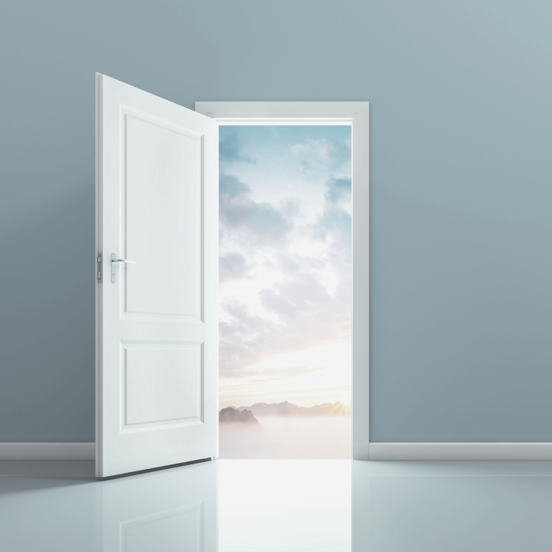 Business Branding: An open door leading into a colorful world.