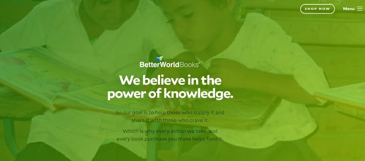 Screenshot of BetterWorldBooks website.