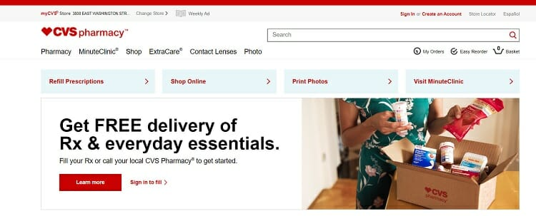 Screenshot of CVS Pharmacy website