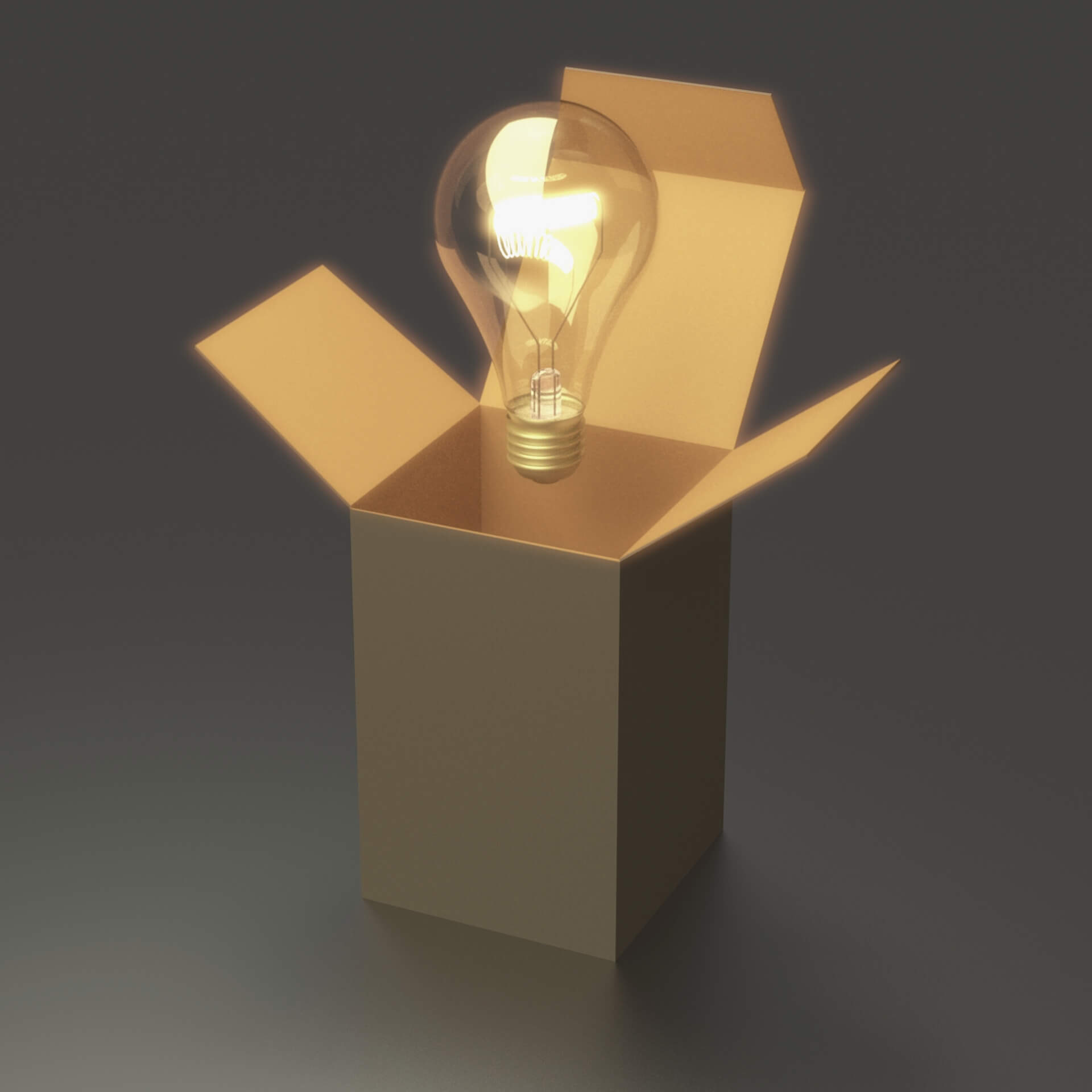 12 Creative Out of the Box Web Design Ideas: Light bulb outside of a cardboard box.