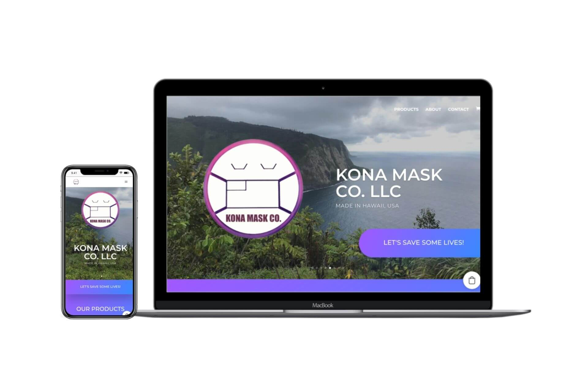 Image of the website of Kona Mask Co. in a phone screen and laptop screen.