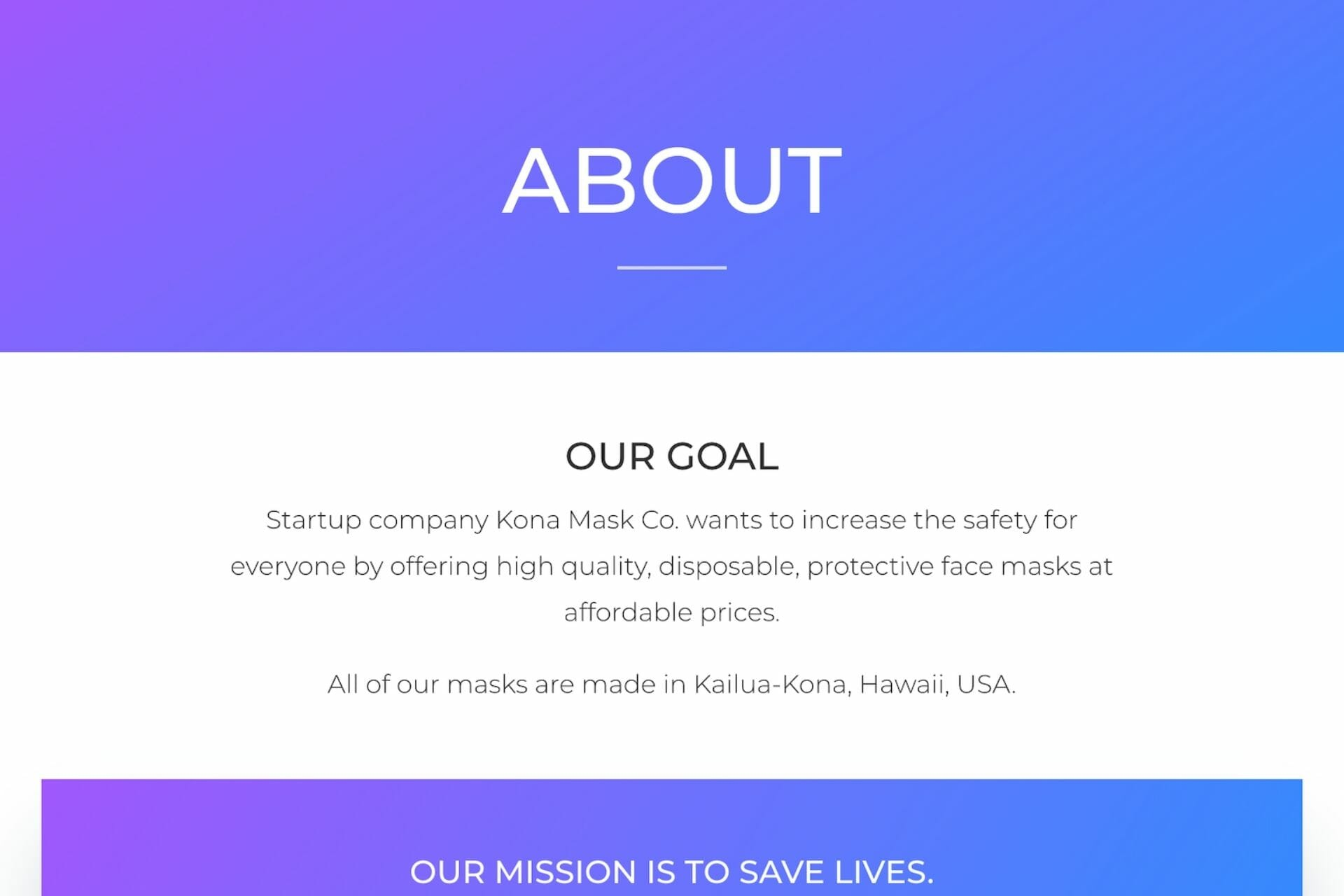 """Preview of """"About"""" section of website for Kona Mask Co."""